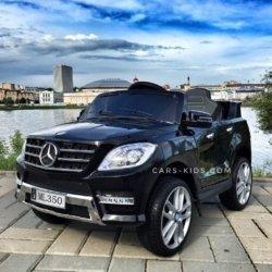 Электромобиль Mercedes Benz ML350 черный (2 варианта аккумулятора, колеса резина, сиденье кожа, пульт, музыка)