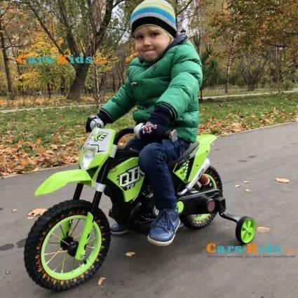Детский кроссовый электромотоцикл зеленый Qike TD 6V - QK-3058-GREEN