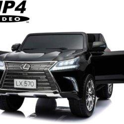 Электромобиль LEXUS LX 570 MP4 черный (сенсор. дисплей, легко съемный аккумулятор, 4WD, 2х местный, колеса резина, сиденье кожа, пульт, музыка)