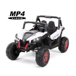 Электромобиль Buggy XMX603 MP4 белый (сенсорный дисплей, 2х местный, полный привод, резина, кожа, пульт, музыка)
